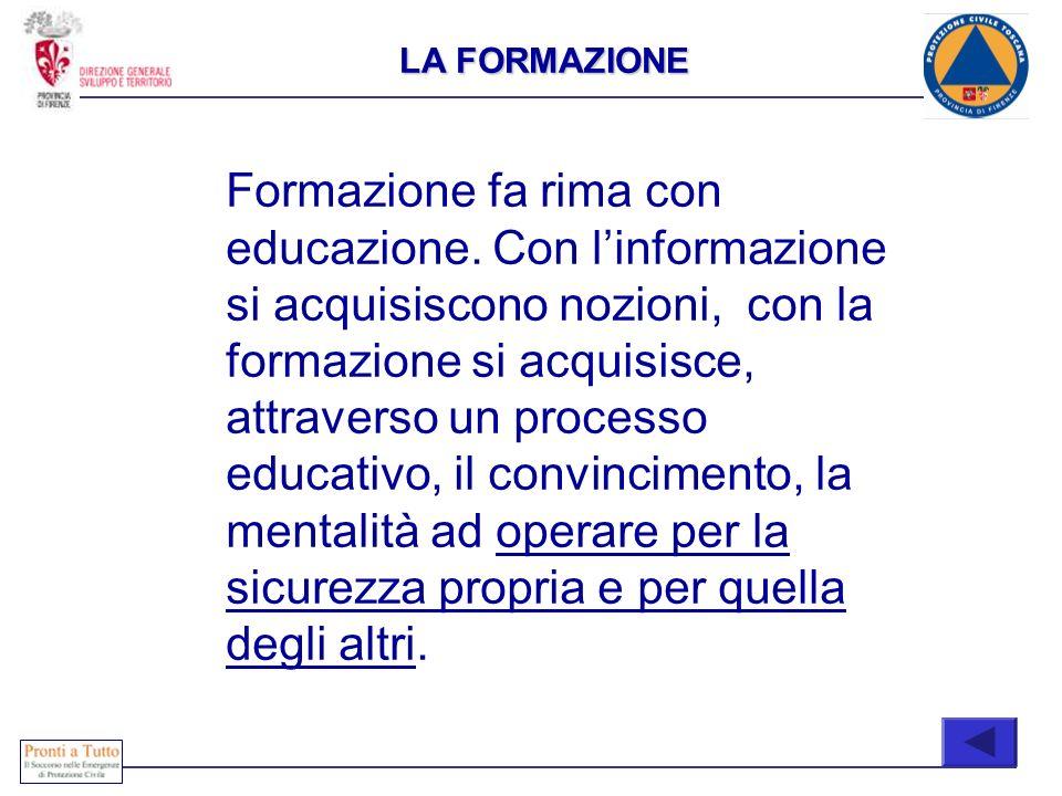 LA FORMAZIONE Formazione fa rima con educazione. Con linformazione si acquisiscono nozioni, con la formazione si acquisisce, attraverso un processo ed