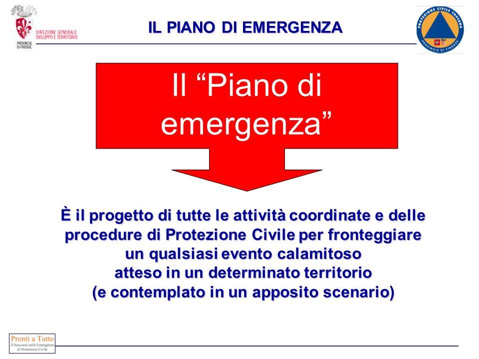 Il Piano di emergenza È il progetto di tutte le attività coordinate e delle procedure di Protezione Civile per fronteggiare un qualsiasi evento calami