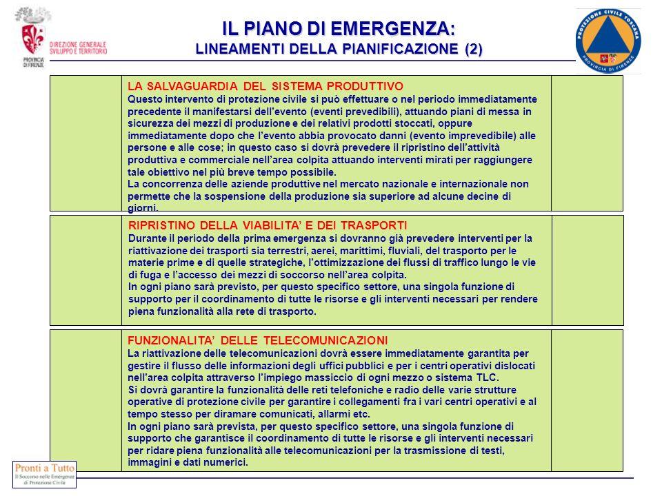 IL PIANO DI EMERGENZA: LINEAMENTI DELLA PIANIFICAZIONE (2) LA SALVAGUARDIA DEL SISTEMA PRODUTTIVO Questo intervento di protezione civile si può effett