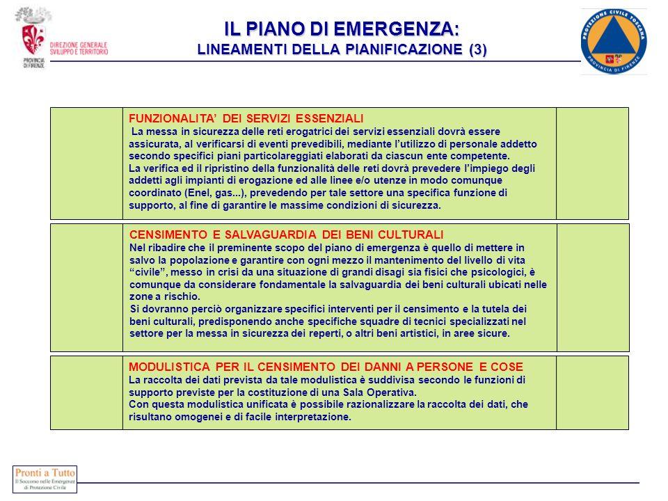 IL PIANO DI EMERGENZA: LINEAMENTI DELLA PIANIFICAZIONE (3) FUNZIONALITA DEI SERVIZI ESSENZIALI La messa in sicurezza delle reti erogatrici dei servizi