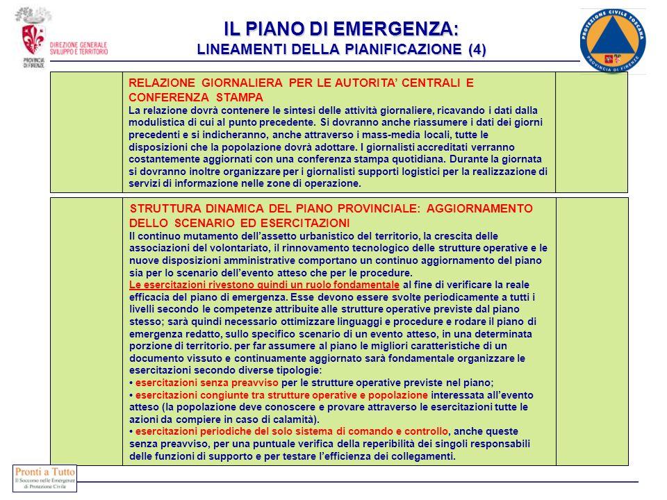 IL PIANO DI EMERGENZA: LINEAMENTI DELLA PIANIFICAZIONE (4) RELAZIONE GIORNALIERA PER LE AUTORITA CENTRALI E CONFERENZA STAMPA La relazione dovrà conte