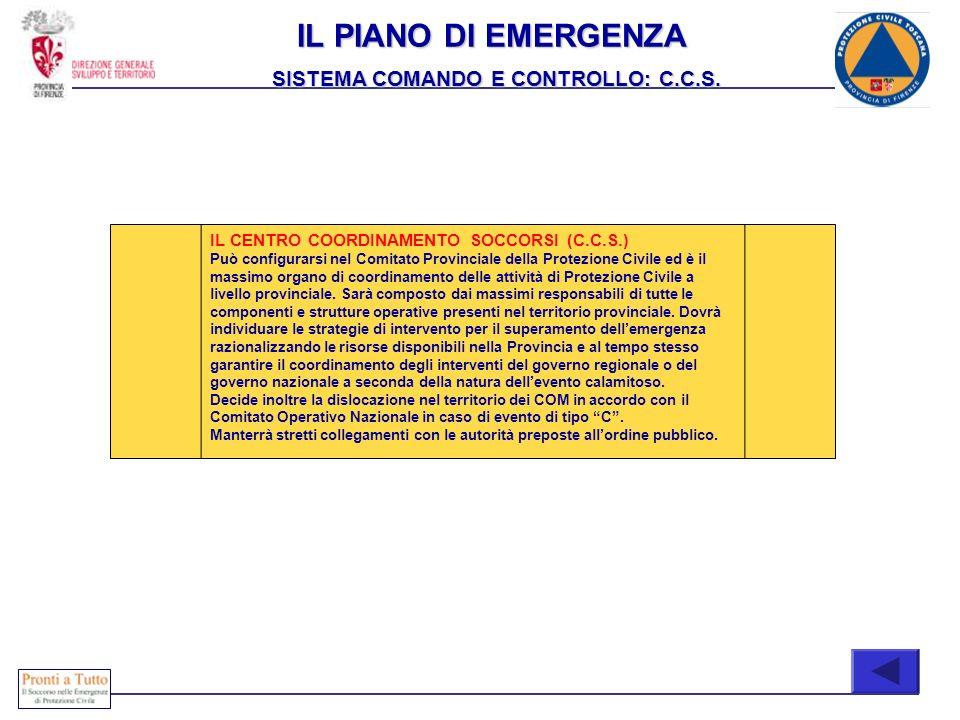 IL CENTRO COORDINAMENTO SOCCORSI (C.C.S.) Può configurarsi nel Comitato Provinciale della Protezione Civile ed è il massimo organo di coordinamento de
