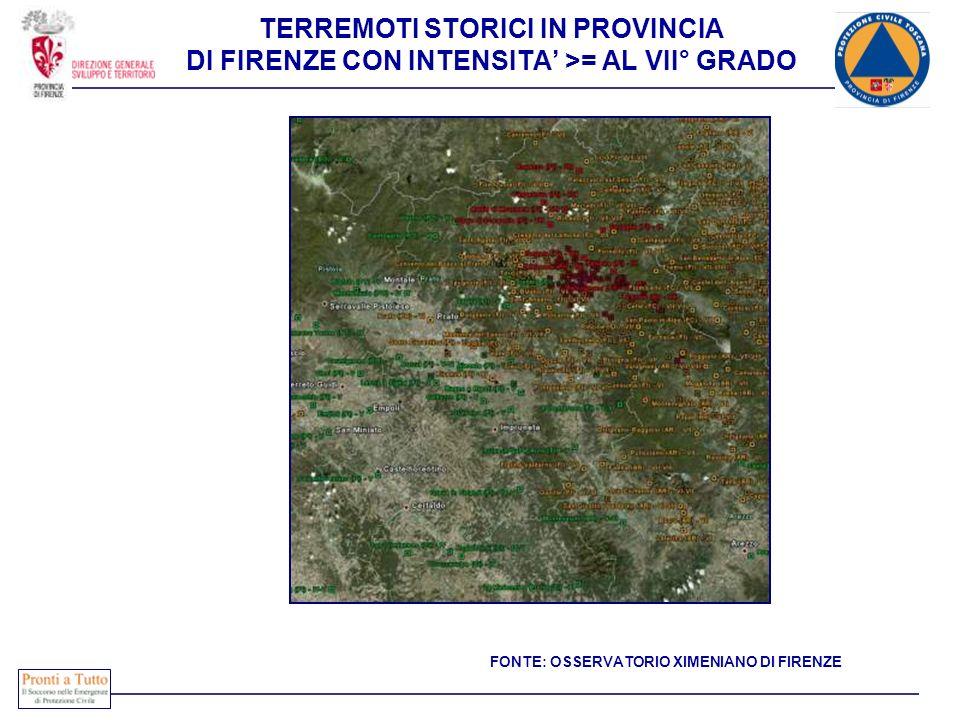 TERREMOTI DEGLI ULTIMI ANNI SIGNIFICATIVI PER IL NOSTRO TERRITORIO (Appennino Forlivese - 2000) La cartina richiama quanto accaduto nella primavera del 2000 con coinvolgimento di una significativa area territoriale.