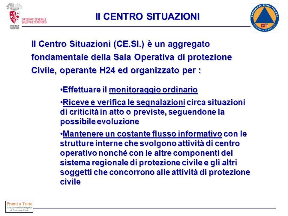 Il CENTRO SITUAZIONI Il Centro Situazioni (CE.SI.) è un aggregato fondamentale della Sala Operativa di protezione Civile, operante H24 ed organizzato