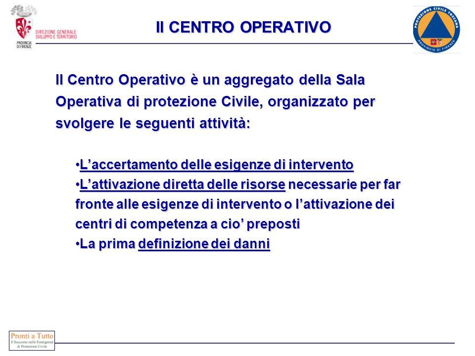 Il CENTRO OPERATIVO Il Centro Operativo è un aggregato della Sala Operativa di protezione Civile, organizzato per svolgere le seguenti attività: Lacce
