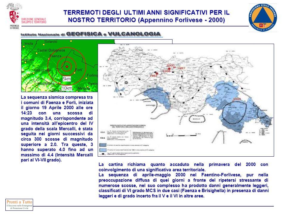 TERREMOTI DEGLI ULTIMI ANNI SIGNIFICATIVI PER IL NOSTRO TERRITORIO (Appennino Toscano - 2001) La Rete Sismica Centralizzata dellâIstituto Nazionale di Geofisica sta registrando una sequenza sismica compresa tra i comuni di Faenza e Forlì, iniziata il giorno 19 Aprile 2000 alle ore 14:23 con una scossa di magnitudo 3.4, corrispondente ad una intensità allâepicentro del IV grado della scala Mercalli.