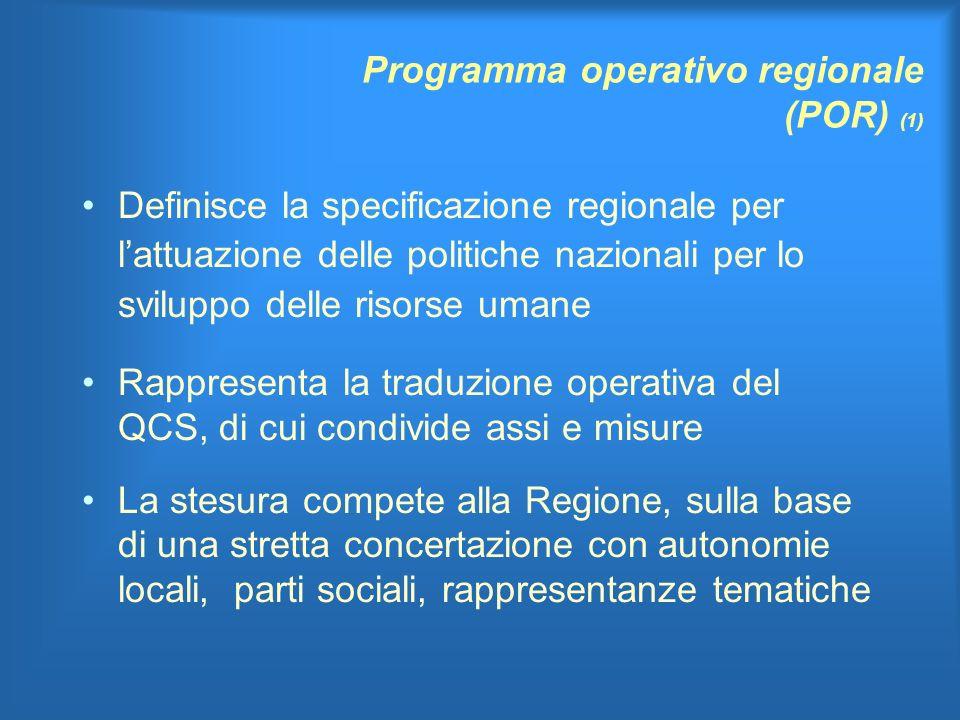 Programma operativo regionale (POR) (1) Definisce la specificazione regionale per lattuazione delle politiche nazionali per lo sviluppo delle risorse umane Rappresenta la traduzione operativa del QCS, di cui condivide assi e misure La stesura compete alla Regione, sulla base di una stretta concertazione con autonomie locali, parti sociali, rappresentanze tematiche