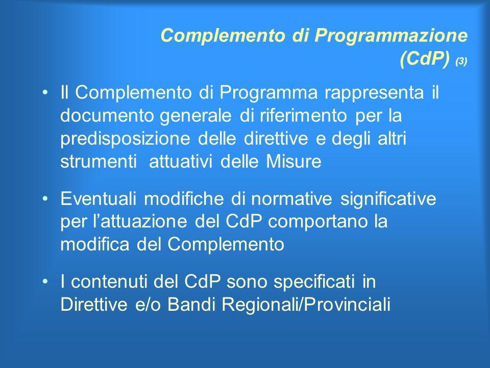 Complemento di Programmazione (CdP) (3) Il Complemento di Programma rappresenta il documento generale di riferimento per la predisposizione delle direttive e degli altri strumenti attuativi delle Misure Eventuali modifiche di normative significative per lattuazione del CdP comportano la modifica del Complemento I contenuti del CdP sono specificati in Direttive e/o Bandi Regionali/Provinciali
