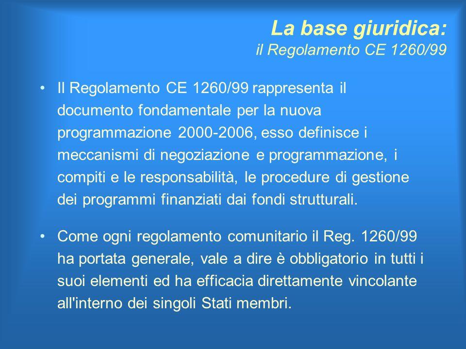 La base giuridica: il Regolamento CE 1260/99 Il Regolamento CE 1260/99 rappresenta il documento fondamentale per la nuova programmazione 2000-2006, esso definisce i meccanismi di negoziazione e programmazione, i compiti e le responsabilità, le procedure di gestione dei programmi finanziati dai fondi strutturali.