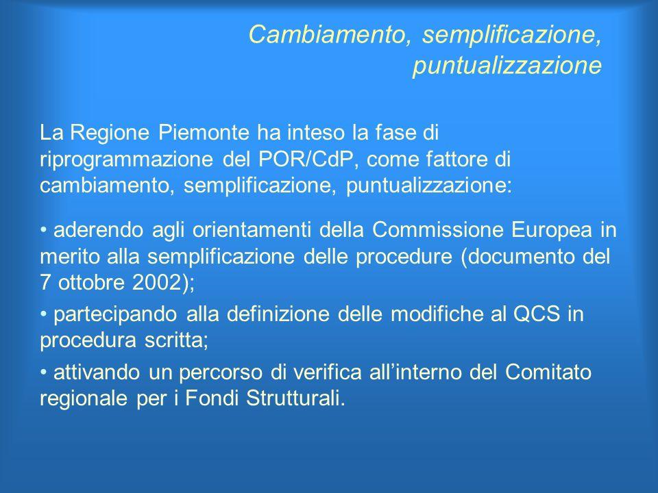 Cambiamento, semplificazione, puntualizzazione La Regione Piemonte ha inteso la fase di riprogrammazione del POR/CdP, come fattore di cambiamento, semplificazione, puntualizzazione: aderendo agli orientamenti della Commissione Europea in merito alla semplificazione delle procedure (documento del 7 ottobre 2002); partecipando alla definizione delle modifiche al QCS in procedura scritta; attivando un percorso di verifica allinterno del Comitato regionale per i Fondi Strutturali.