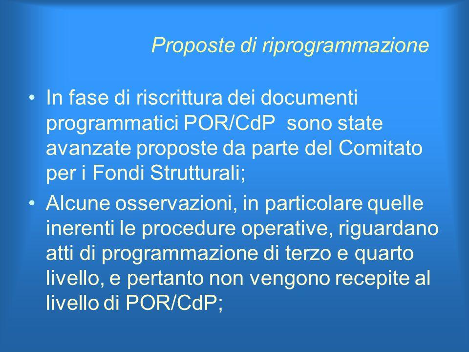 Proposte di riprogrammazione In fase di riscrittura dei documenti programmatici POR/CdP sono state avanzate proposte da parte del Comitato per i Fondi Strutturali; Alcune osservazioni, in particolare quelle inerenti le procedure operative, riguardano atti di programmazione di terzo e quarto livello, e pertanto non vengono recepite al livello di POR/CdP;