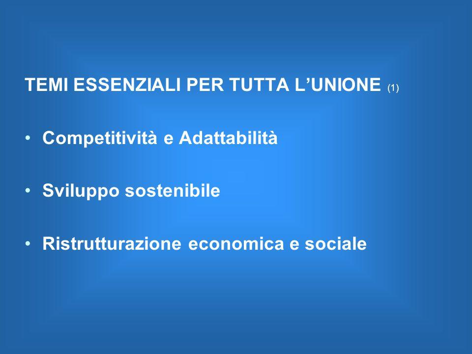TEMI ESSENZIALI PER TUTTA LUNIONE (1) Competitività e Adattabilità Sviluppo sostenibile Ristrutturazione economica e sociale