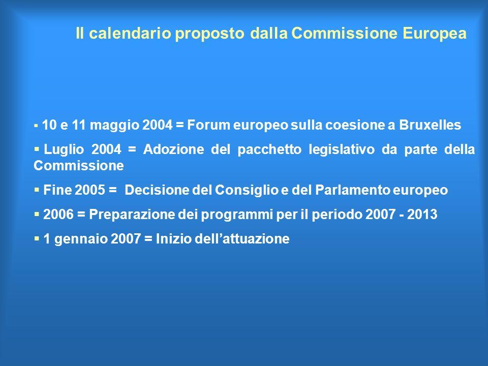 Il calendario proposto dalla Commissione Europea 10 e 11 maggio 2004 = Forum europeo sulla coesione a Bruxelles Luglio 2004 = Adozione del pacchetto legislativo da parte della Commissione Fine 2005 = Decisione del Consiglio e del Parlamento europeo 2006 = Preparazione dei programmi per il periodo 2007 - 2013 1 gennaio 2007 = Inizio dellattuazione