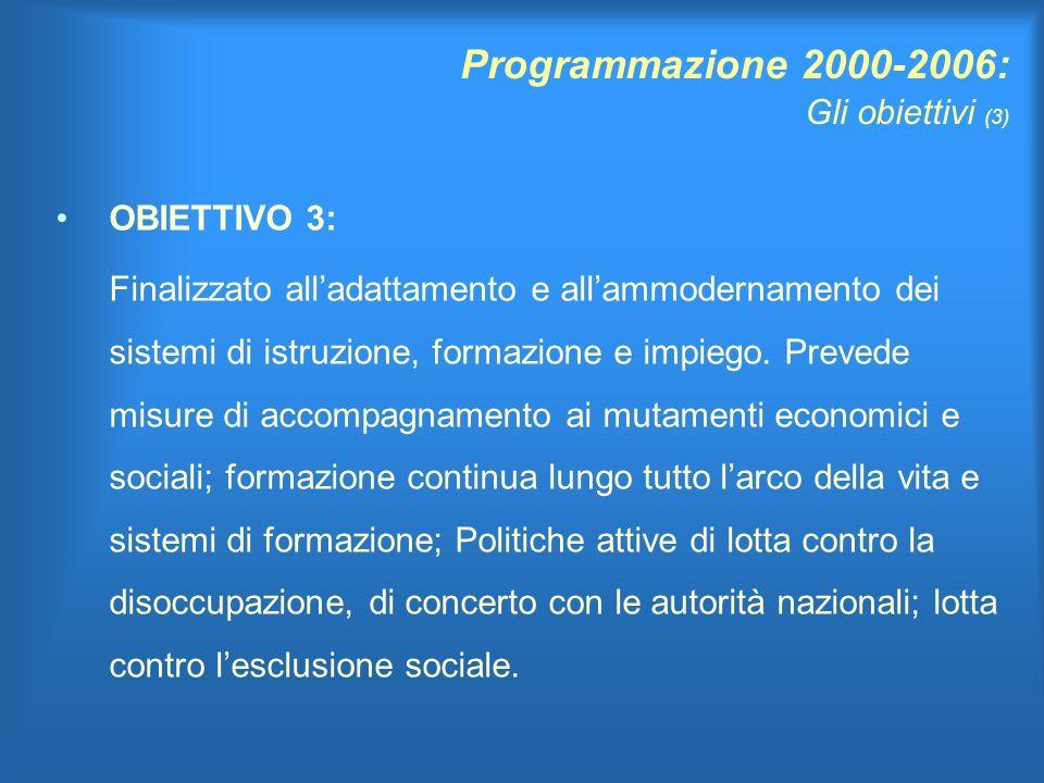 Programmazione 2000-2006: Gli obiettivi (3) OBIETTIVO 3: Finalizzato alladattamento e allammodernamento dei sistemi di istruzione, formazione e impiego.