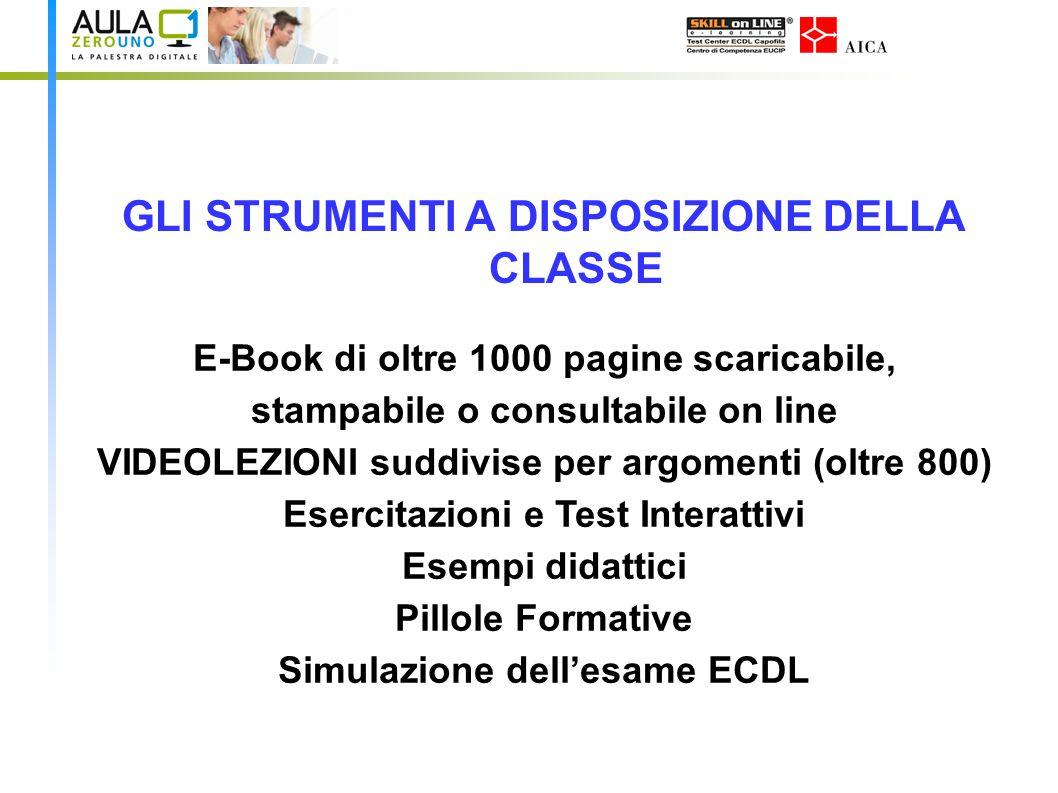 GLI STRUMENTI A DISPOSIZIONE DELLA CLASSE E-Book di oltre 1000 pagine scaricabile, stampabile o consultabile on line VIDEOLEZIONI suddivise per argome