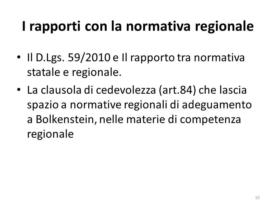 I rapporti con la normativa regionale Il D.Lgs. 59/2010 e Il rapporto tra normativa statale e regionale. La clausola di cedevolezza (art.84) che lasci