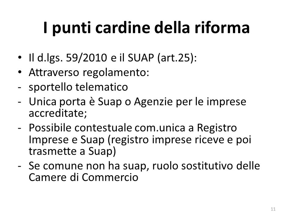 I punti cardine della riforma Il d.lgs.