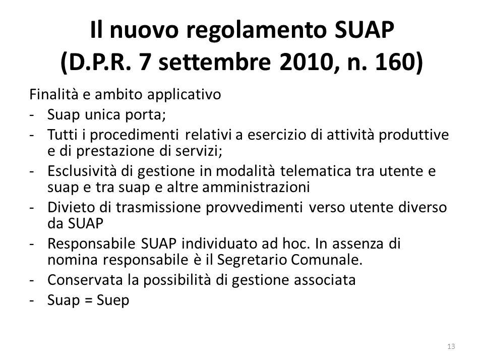 Il nuovo regolamento SUAP (D.P.R. 7 settembre 2010, n. 160) Finalità e ambito applicativo -Suap unica porta; -Tutti i procedimenti relativi a esercizi