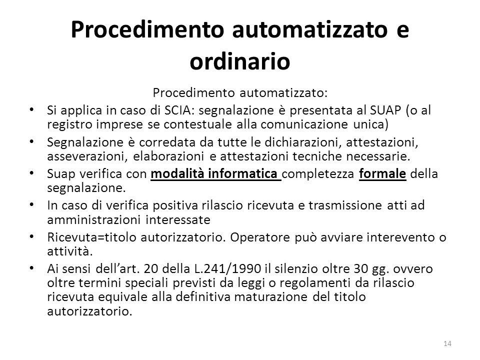 Procedimento automatizzato e ordinario Procedimento automatizzato: Si applica in caso di SCIA: segnalazione è presentata al SUAP (o al registro imprese se contestuale alla comunicazione unica) Segnalazione è corredata da tutte le dichiarazioni, attestazioni, asseverazioni, elaborazioni e attestazioni tecniche necessarie.