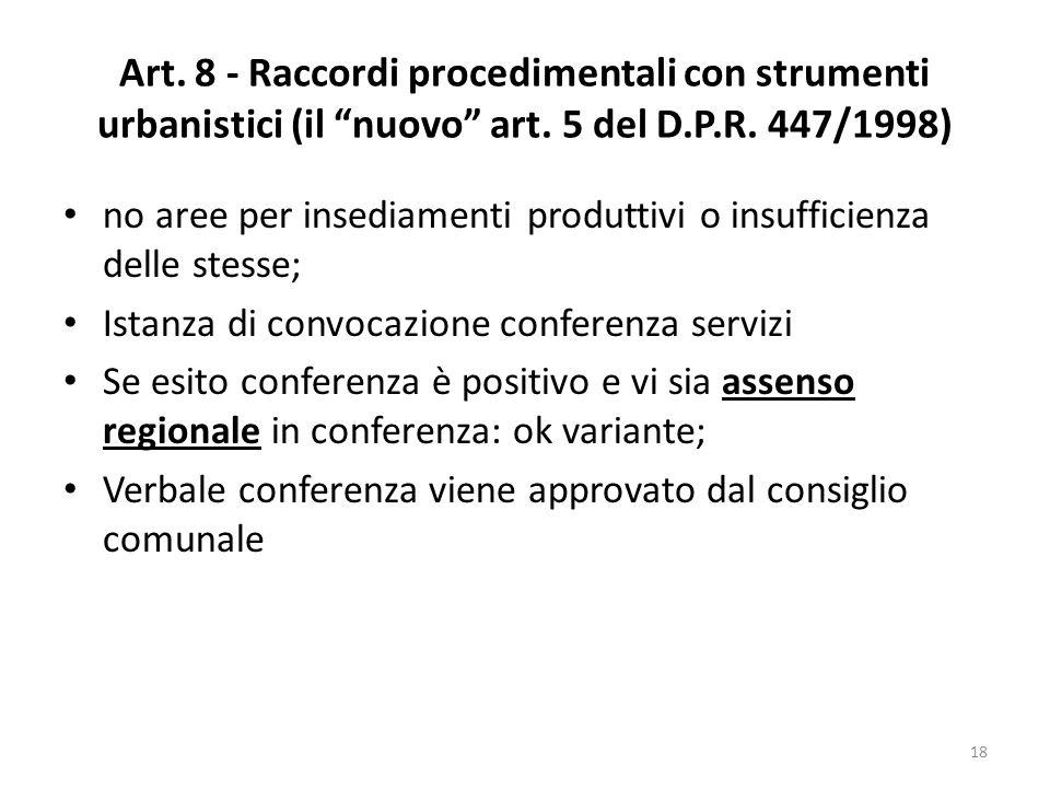 Art. 8 - Raccordi procedimentali con strumenti urbanistici (il nuovo art. 5 del D.P.R. 447/1998) no aree per insediamenti produttivi o insufficienza d