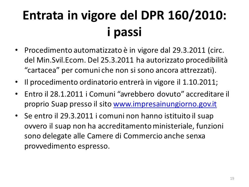Entrata in vigore del DPR 160/2010: i passi Procedimento automatizzato è in vigore dal 29.3.2011 (circ. del Min.Svil.Ecom. Del 25.3.2011 ha autorizzat