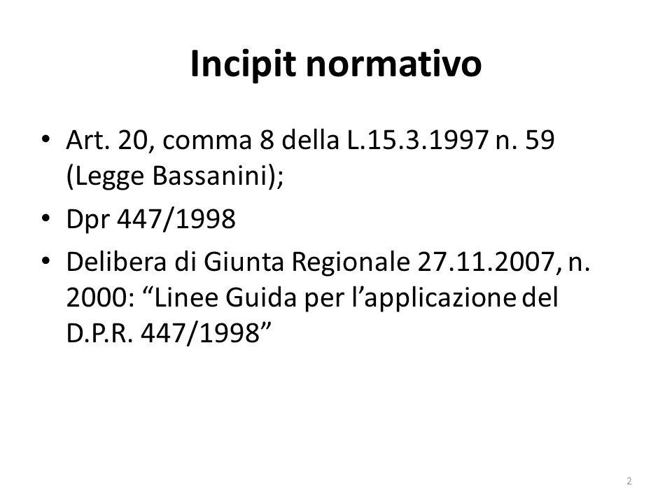 Incipit normativo Art. 20, comma 8 della L.15.3.1997 n. 59 (Legge Bassanini); Dpr 447/1998 Delibera di Giunta Regionale 27.11.2007, n. 2000: Linee Gui