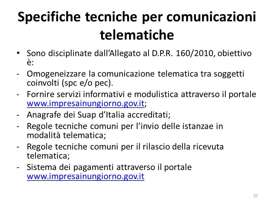 Specifiche tecniche per comunicazioni telematiche Sono disciplinate dallAllegato al D.P.R. 160/2010, obiettivo è: -Omogeneizzare la comunicazione tele