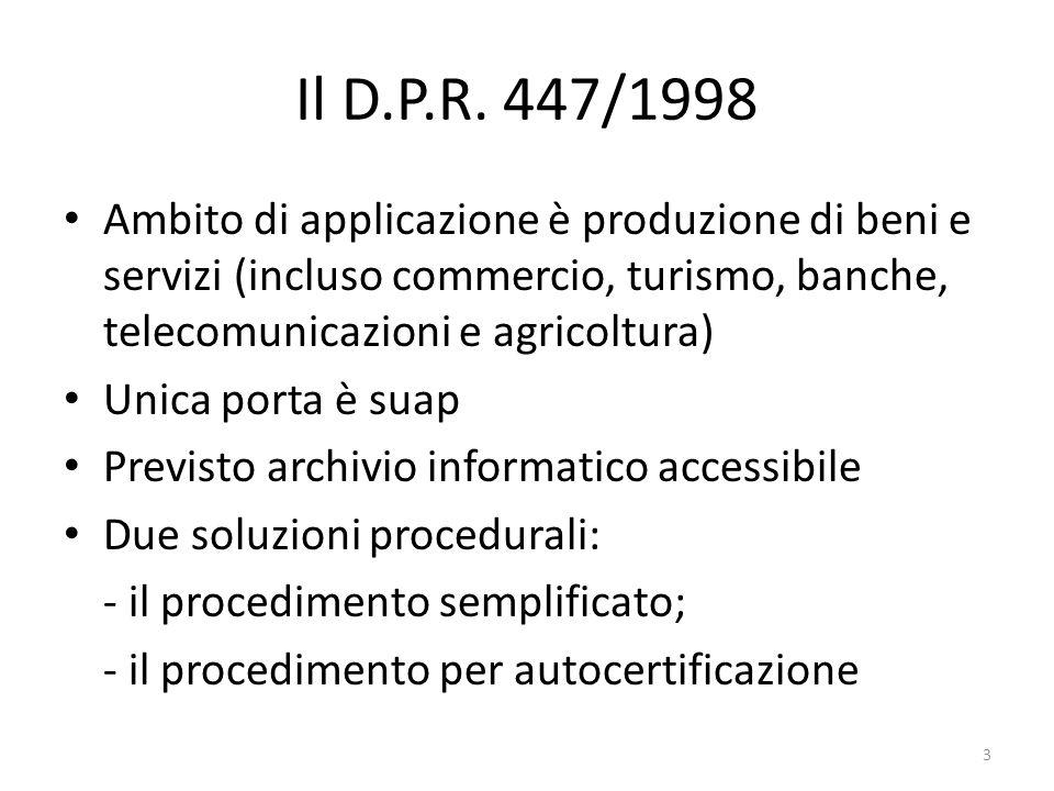 Il D.P.R. 447/1998 Ambito di applicazione è produzione di beni e servizi (incluso commercio, turismo, banche, telecomunicazioni e agricoltura) Unica p