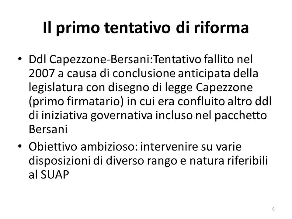 Il primo tentativo di riforma Ddl Capezzone-Bersani:Tentativo fallito nel 2007 a causa di conclusione anticipata della legislatura con disegno di legg