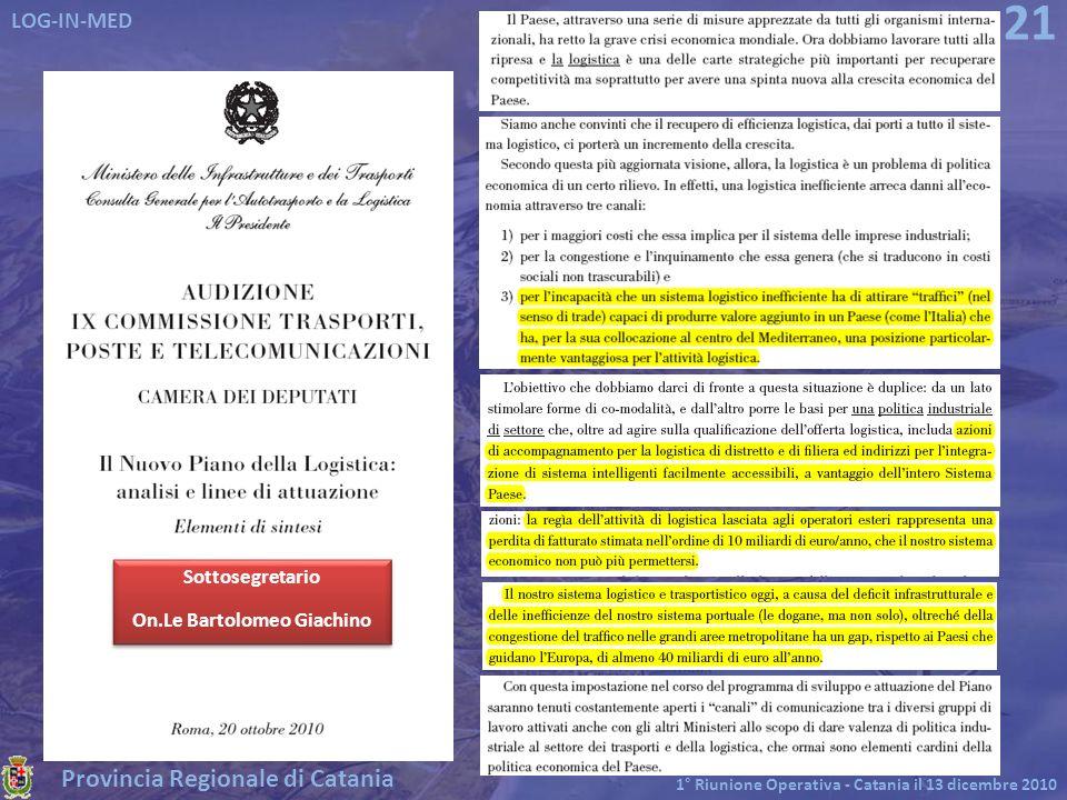 Provincia Regionale di Catania LOG-IN-MED 1° Riunione Operativa - Catania il 13 dicembre 2010 21 Sottosegretario On.Le Bartolomeo Giachino Sottosegret