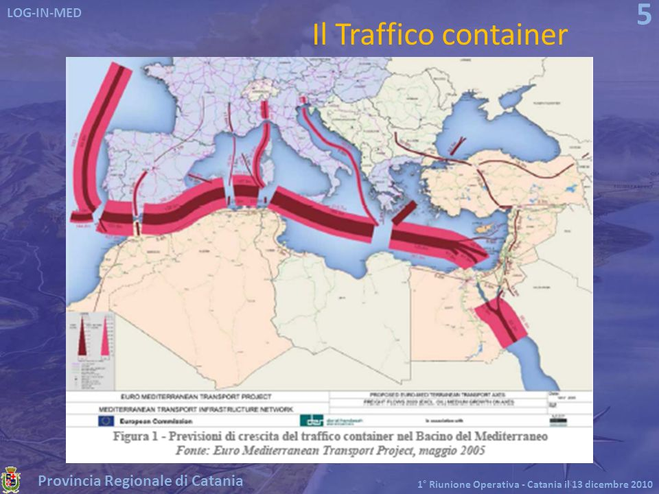 Provincia Regionale di Catania LOG-IN-MED 1° Riunione Operativa - Catania il 13 dicembre 2010 6 In Spagna In Egitto ed in Grecia In Italia I flussi container nei maggiori porti del Mediterraneo