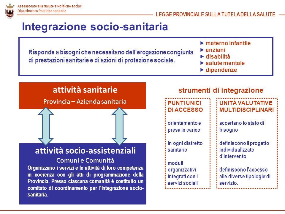 Assessorato alla Salute e Politiche sociali Dipartimento Politiche sanitarie LEGGE PROVINCIALE SULLA TUTELA DELLA SALUTE Integrazione socio-sanitaria