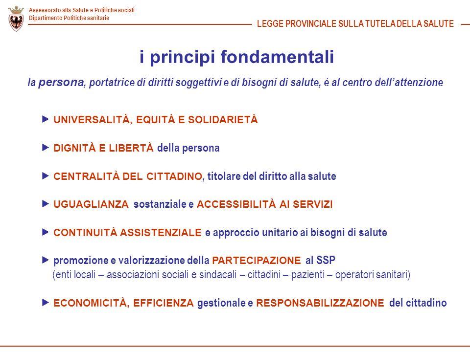 Assessorato alla Salute e Politiche sociali Dipartimento Politiche sanitarie LEGGE PROVINCIALE SULLA TUTELA DELLA SALUTE i principi fondamentali UNIVE