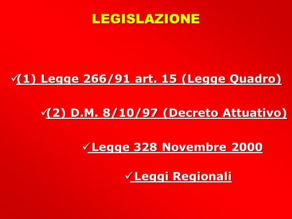 (1) Legge 266/91 art.15 (Legge Quadro) (1) Legge 266/91 art.
