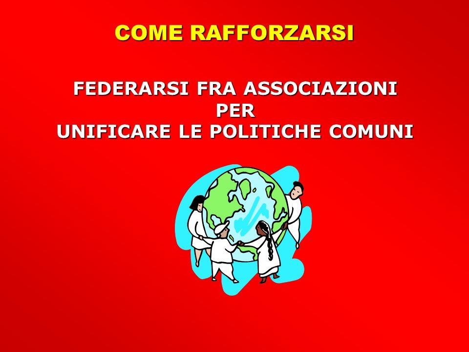 COME RAFFORZARSI FEDERARSI FRA ASSOCIAZIONI PER UNIFICARE LE POLITICHE COMUNI