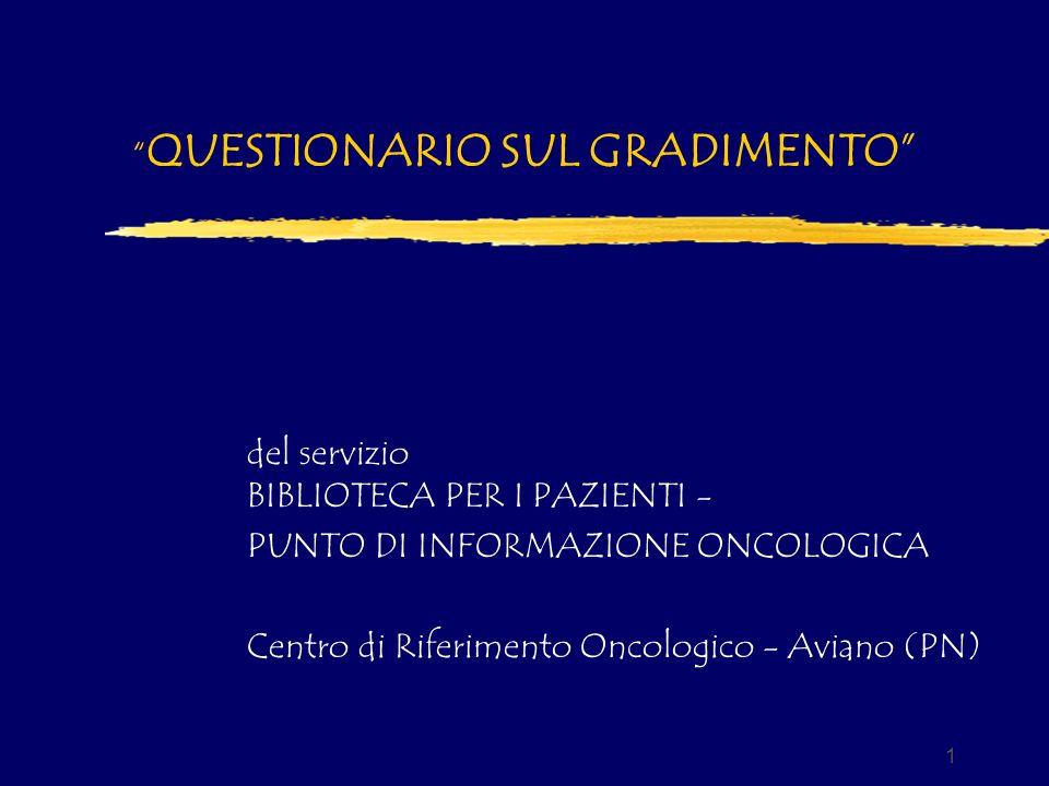 1 QUESTIONARIO SUL GRADIMENTO del servizio BIBLIOTECA PER I PAZIENTI - PUNTO DI INFORMAZIONE ONCOLOGICA Centro di Riferimento Oncologico - Aviano (PN)