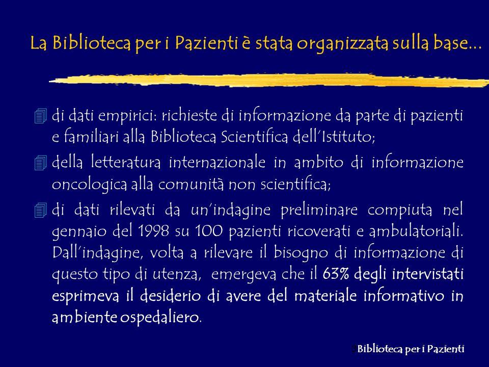 4 Biblioteca per i Pazienti Scopo finale di unindagine sul Gradimento dei servizio attualmente offerti dalla Biblioteca per i Pazienti- Punto di Informazione Oncologica...
