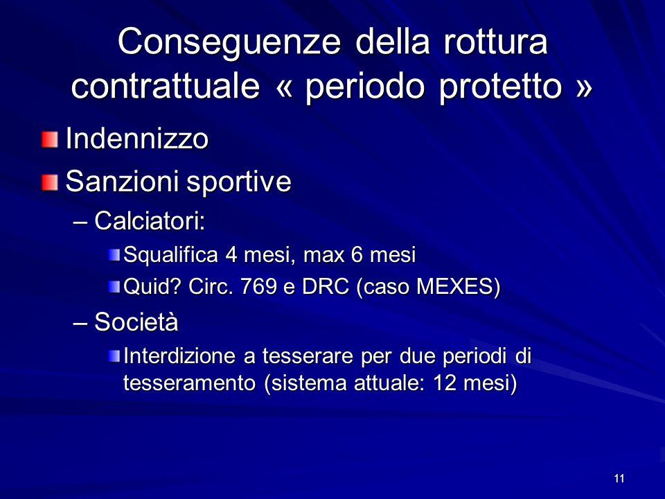 11 Conseguenze della rottura contrattuale « periodo protetto » Indennizzo Sanzioni sportive –Calciatori: Squalifica 4 mesi, max 6 mesi Quid.