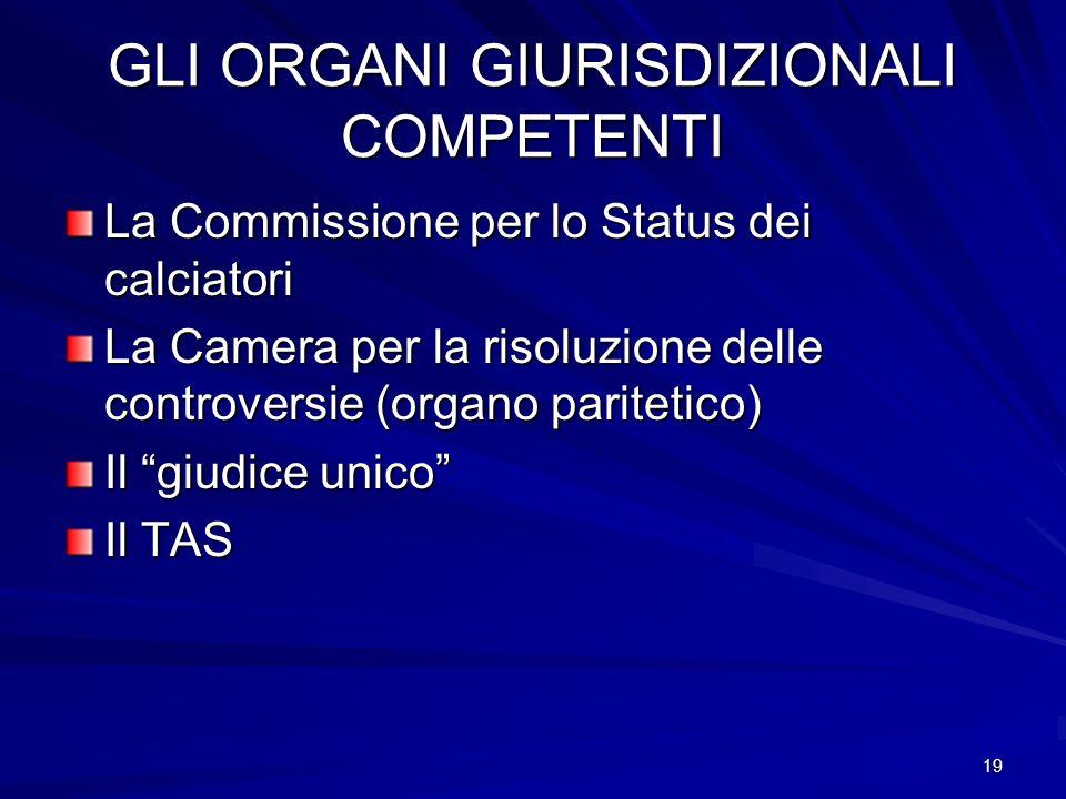 19 GLI ORGANI GIURISDIZIONALI COMPETENTI La Commissione per lo Status dei calciatori La Camera per la risoluzione delle controversie (organo paritetico) Il giudice unico Il TAS
