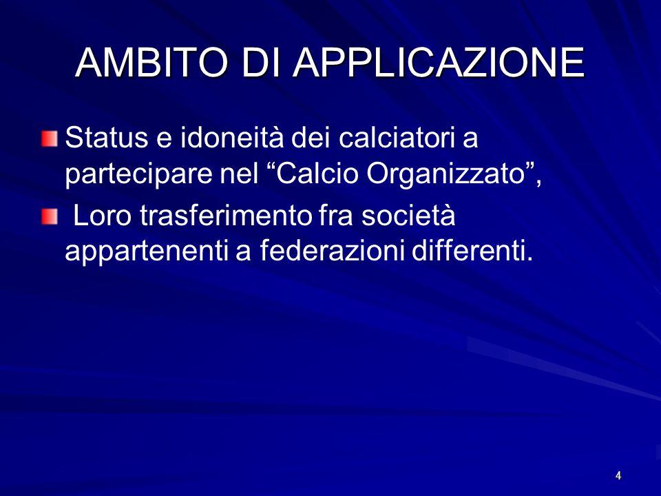 4 AMBITO DI APPLICAZIONE Status e idoneità dei calciatori a partecipare nel Calcio Organizzato, Loro trasferimento fra società appartenenti a federazioni differenti.
