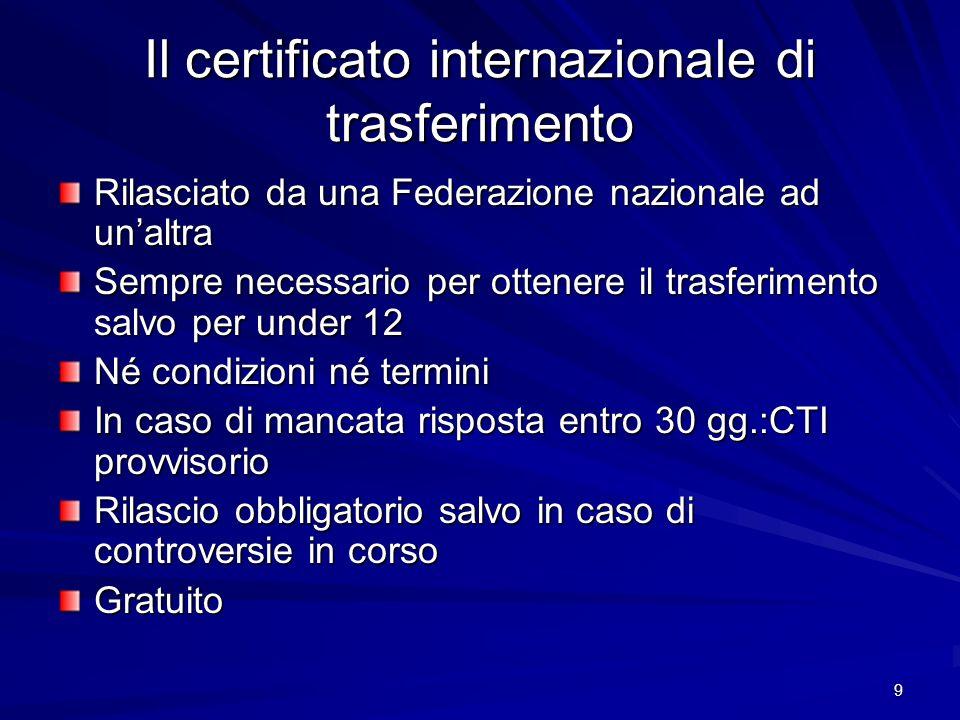 9 Il certificato internazionale di trasferimento Rilasciato da una Federazione nazionale ad unaltra Sempre necessario per ottenere il trasferimento sa
