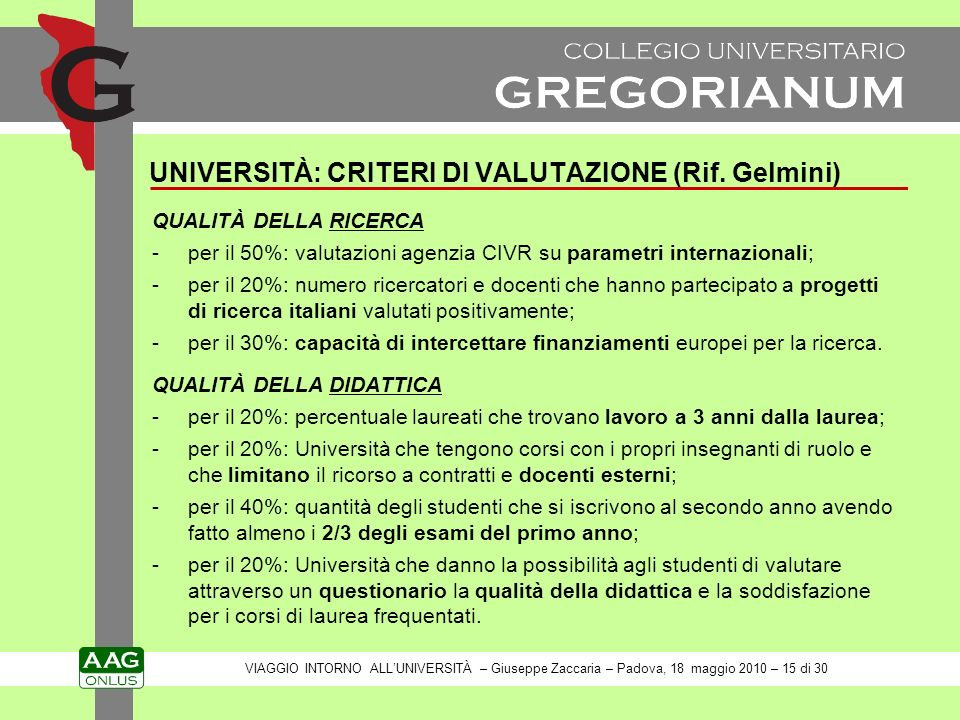 UNIVERSITÀ: CRITERI DI VALUTAZIONE (Rif.