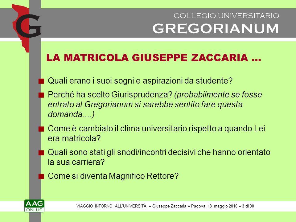 LA MATRICOLA GIUSEPPE ZACCARIA … Quali erano i suoi sogni e aspirazioni da studente.