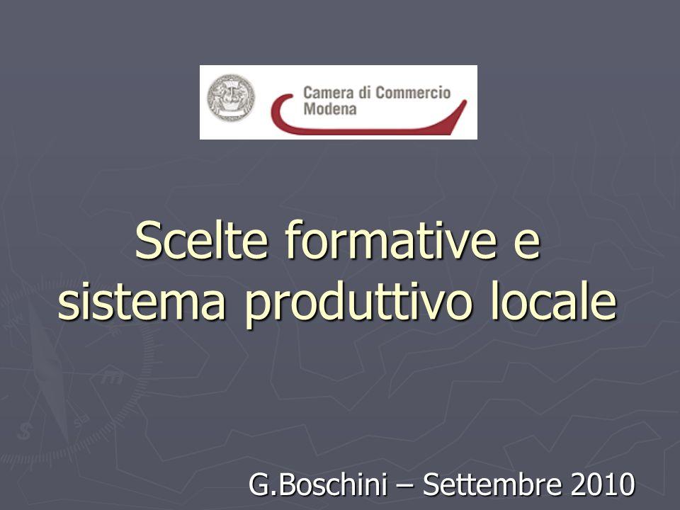 Scelte formative e sistema produttivo locale G.Boschini – Settembre 2010