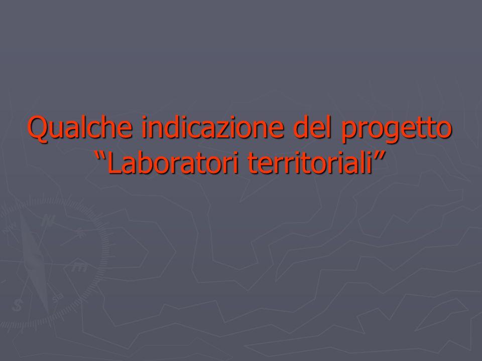 Qualche indicazione del progetto Laboratori territoriali Qualche indicazione del progetto Laboratori territoriali