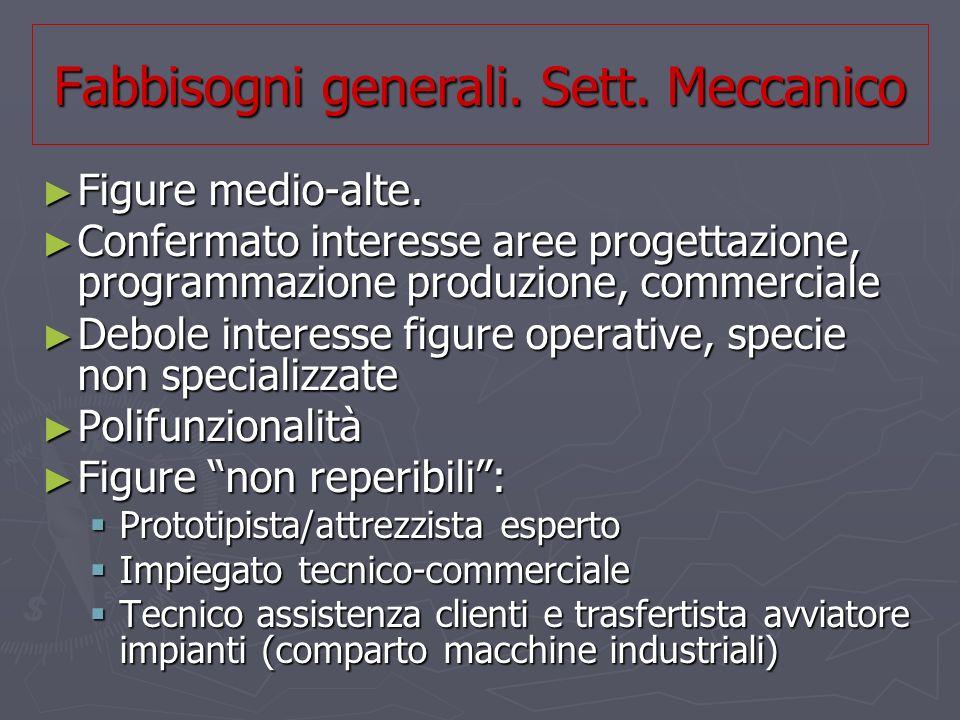 Fabbisogni generali. Sett. Meccanico Figure medio-alte.