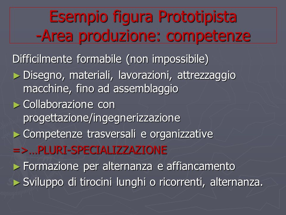 Difficilmente formabile (non impossibile) Disegno, materiali, lavorazioni, attrezzaggio macchine, fino ad assemblaggio Disegno, materiali, lavorazioni, attrezzaggio macchine, fino ad assemblaggio Collaborazione con progettazione/ingegnerizzazione Collaborazione con progettazione/ingegnerizzazione Competenze trasversali e organizzative Competenze trasversali e organizzative=>…PLURI-SPECIALIZZAZIONE Formazione per alternanza e affiancamento Formazione per alternanza e affiancamento Sviluppo di tirocini lunghi o ricorrenti, alternanza.