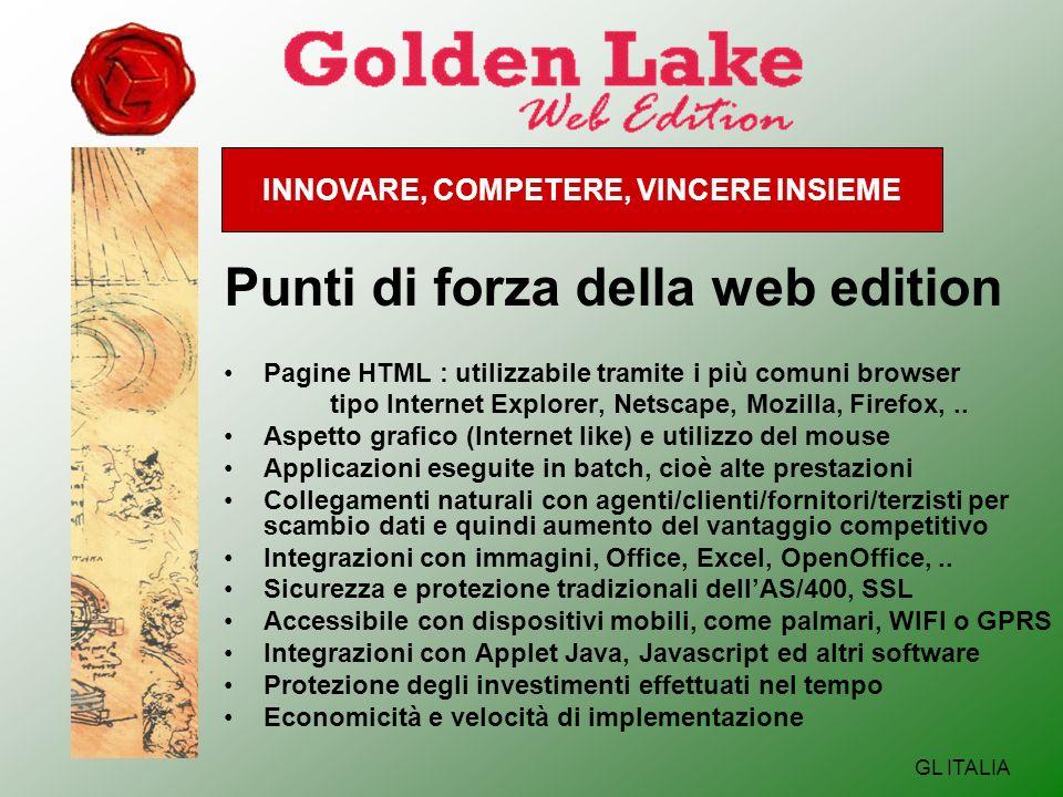 INNOVARE, COMPETERE, VINCERE INSIEME GL ITALIA Punti di forza della web edition Pagine HTML : utilizzabile tramite i più comuni browser tipo Internet Explorer, Netscape, Mozilla, Firefox,..