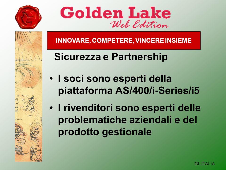 INNOVARE, COMPETERE, VINCERE INSIEME GL ITALIA Sicurezza e Partnership I soci sono esperti della piattaforma AS/400/i-Series/i5 I rivenditori sono esperti delle problematiche aziendali e del prodotto gestionale