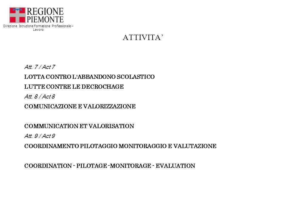 ATTIVITA Att. 7 / Act 7 LOTTA CONTRO L ABBANDONO SCOLASTICO LUTTE CONTRE LE DECROCHAGE Att.
